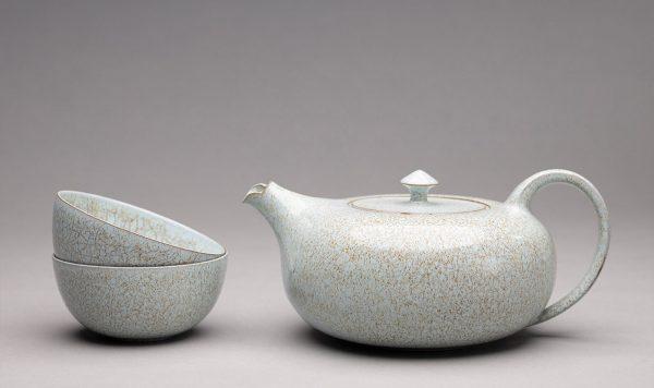Landbeck Keramik Geschirr-Set Blau Kanne und Schalen Krakelee
