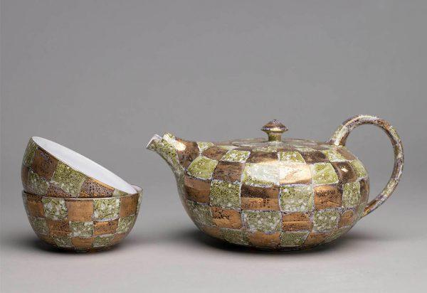 Landbeck Keramik Geschirr-Set Gruen Kanne und Schalen Lüster