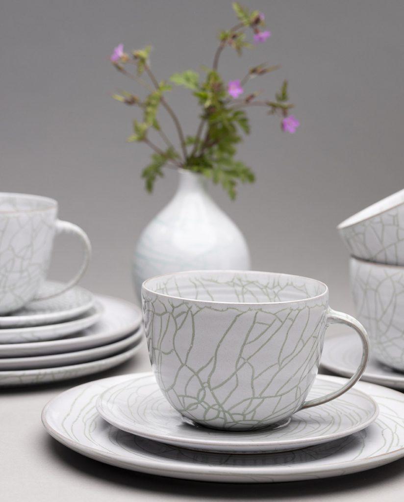 Landbeck Keramik Geschirr-Set Weiß Grün Krakelee