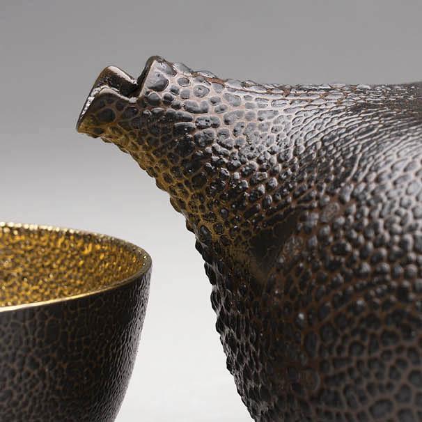 Landbeck Keramik Tea Set Schrumpfglasur Schwarz Gold