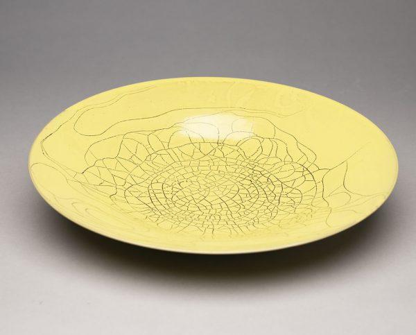 Landbeck Keramik Schale Gelb Krakelee von oben