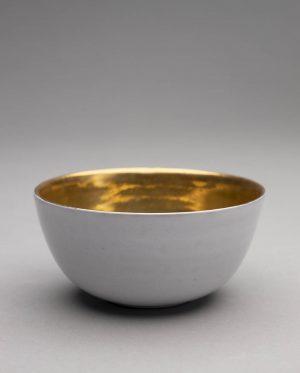 Landbeck Keramik Schale Weiß und Gold Lüster