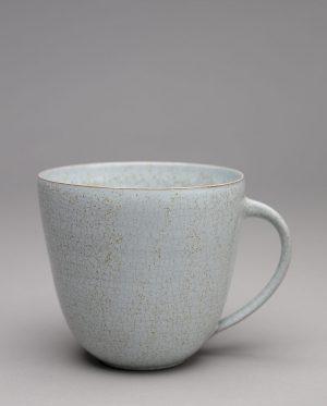 Landbeck Keramik große Tasse Hellblau Krakelee