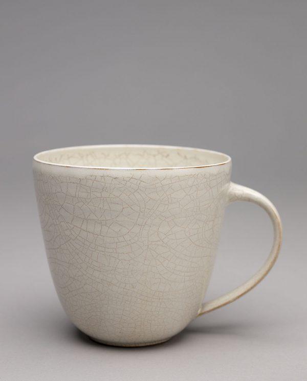 Landbeck Keramik große Tasse Beige Krakelee