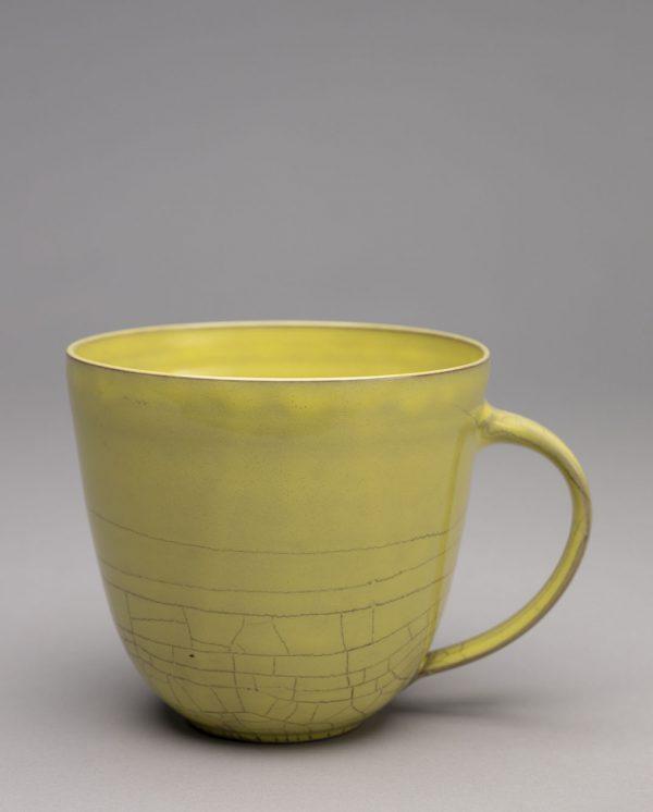 Landbeck Keramik große Tasse Gelb Krakelee