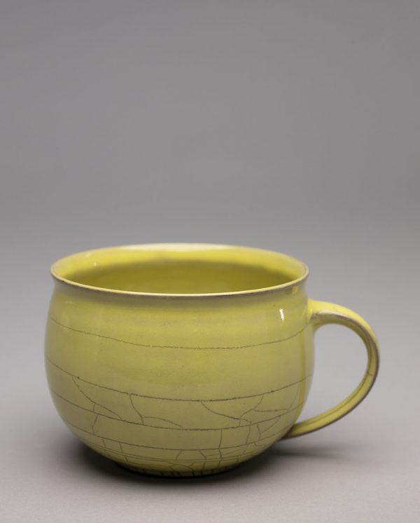 Landbeck Keramik Tasse Gelb Krakelee