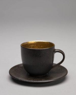 Landbeck Keramik Espressotasse Schwarz Gold Schrumpfglasur