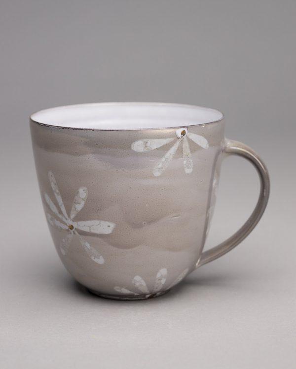 Landbeck Keramik große Tasse Hellgrau Luester