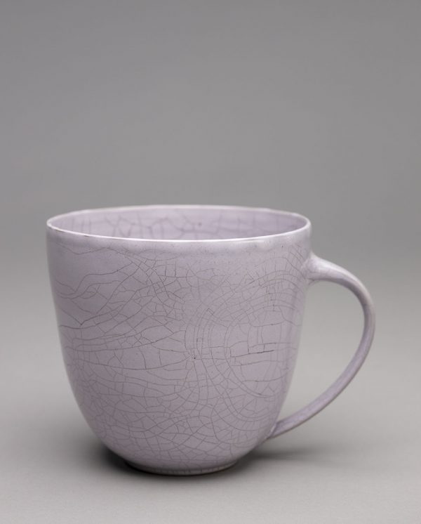 Landbeck Keramik große Tasse Hellrosa Krakelee