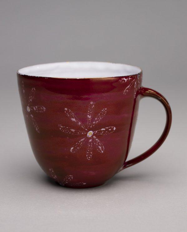 Landbeck Keramik große Tasse Rot Krakelee