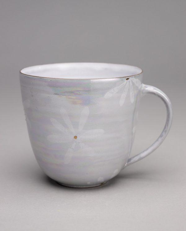 Landbeck Keramik große Tasse Weiß Luester