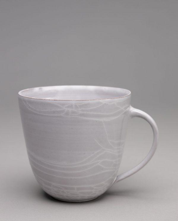 Landbeck Keramik große Tasse Grau Krakelee