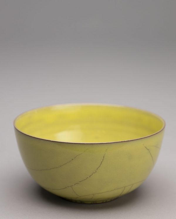Landbeck Keramik Trinkschale Gelb Krakelee