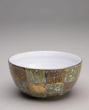 Landbeck Keramik Trinkschale Grün und Gold Lüster