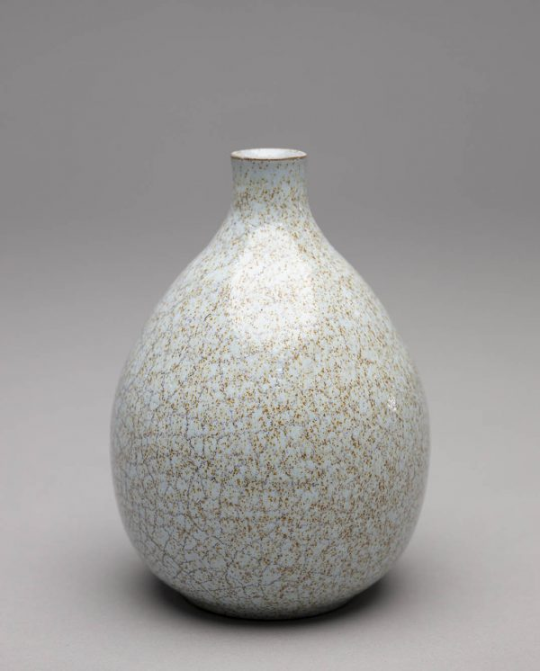 Landbeck Keramik kleine Vase Hellblau Krakelee