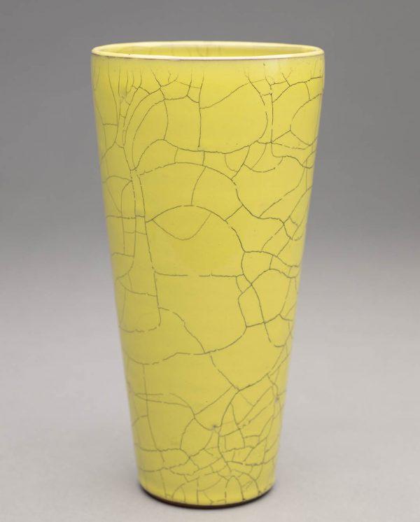 Landbeck Keramik große Vase Gelb Krakelee