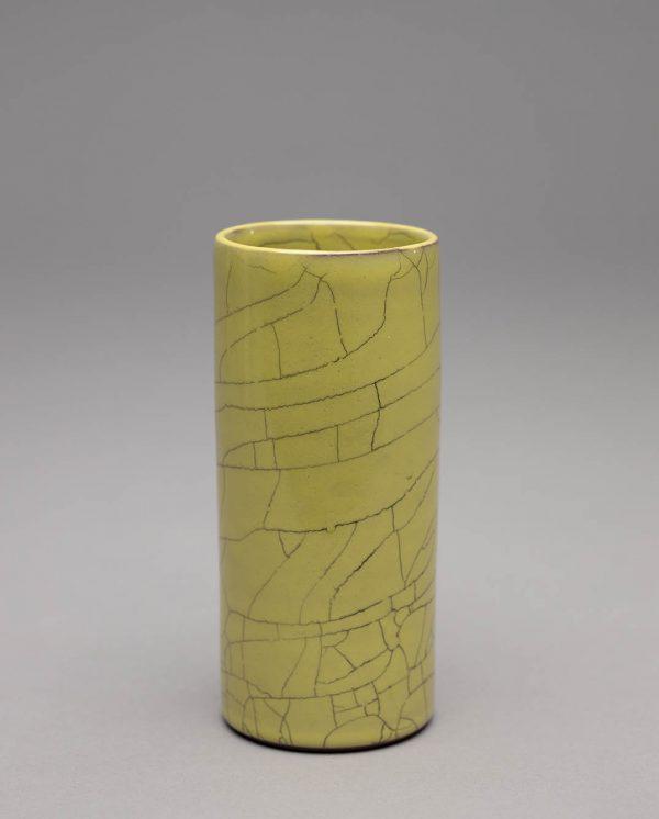 Landbeck Keramik kleine Vase Gelb Krakelee