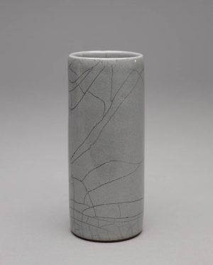 Landbeck Keramik kleine Vase Dunkelgrau Krakelee