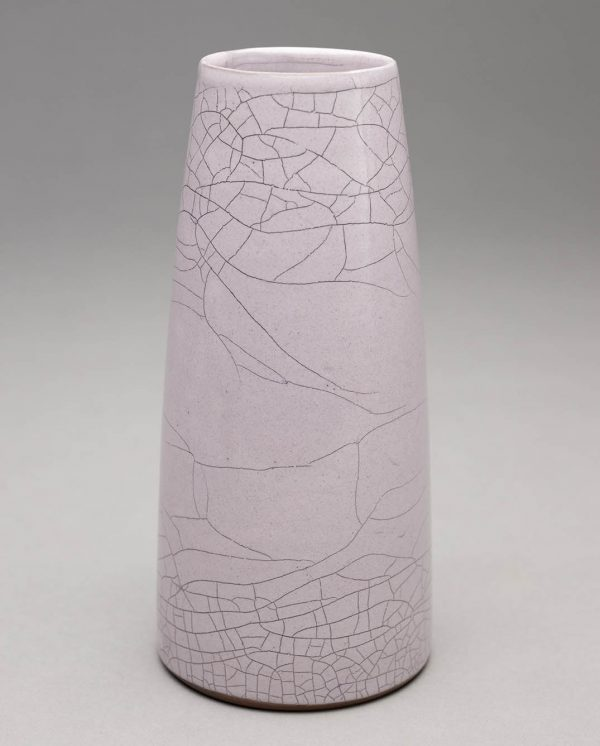 Landbeck Keramik kleine Vase Hellrosa Krakelee