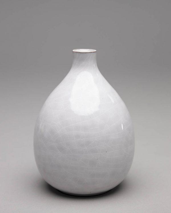 Landbeck Keramik kleine Vase Weiß Krakelee