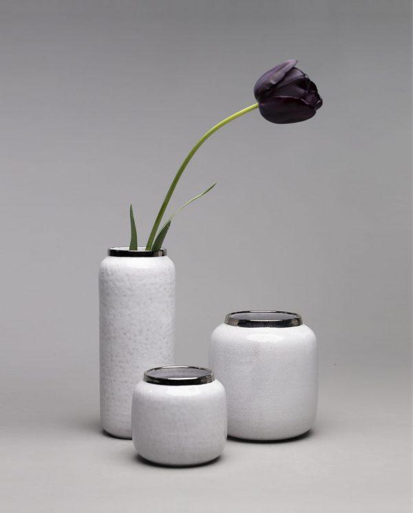 Landbeck Keramik drei Vasen Weiß und Silber