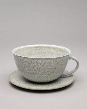 Landbeck Keramik Tasse Hellblau Krakelee
