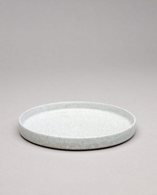 Landbeck Keramik Teller mit Rand Hellblau Krakelee