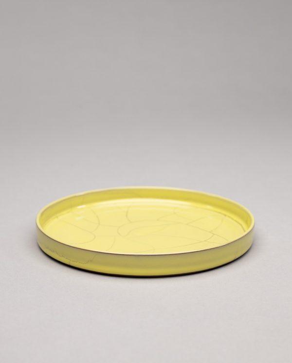 Landbeck Keramik Teller mit Rand Gelb Krakelee