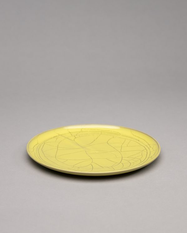 Landbeck Keramik Teller Gelb Krakelee