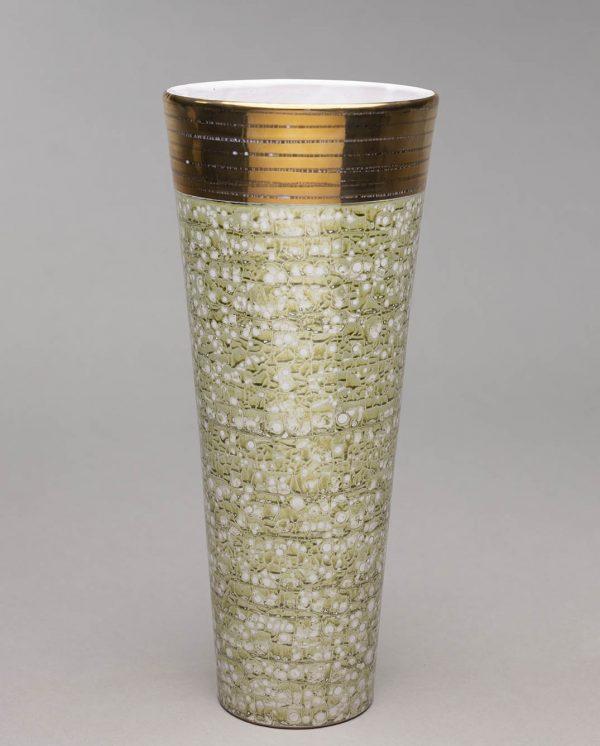 Landbeck Keramik große Vase Hellgruen Gold Luester