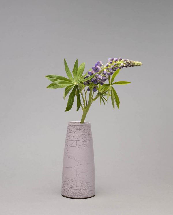 Landbeck Keramik Vase Hellrosa mit Blume