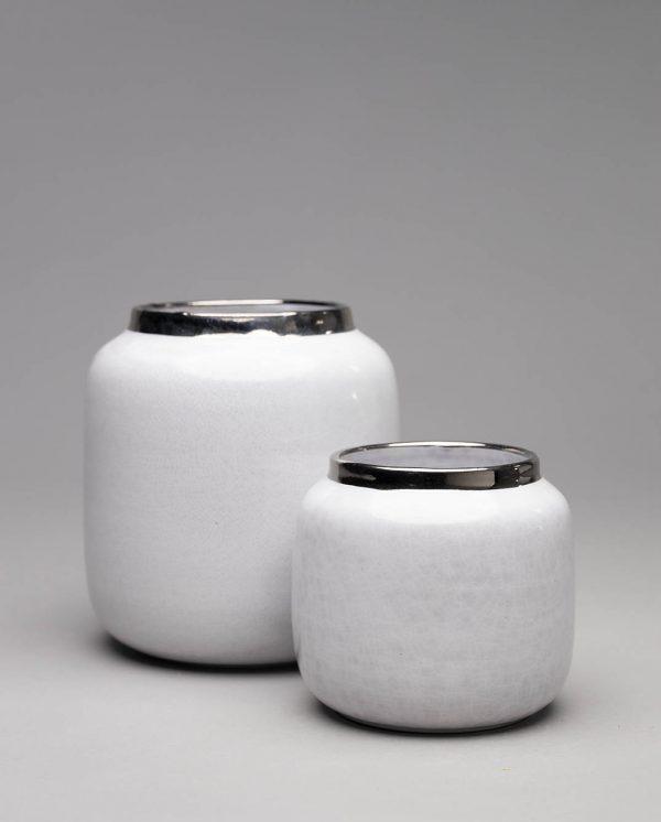 Landbeck Keramik Vasen Set Weiß Silber