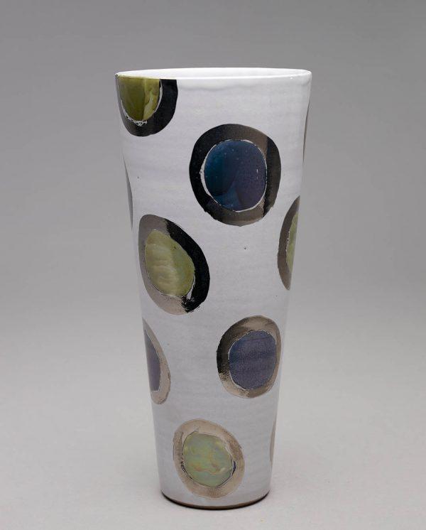 Landbeck Keramik große Vase Weiß gepunktet blau gruen