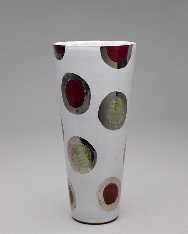 Landbeck Keramik große Vase Weiß gepunktet rot gruen