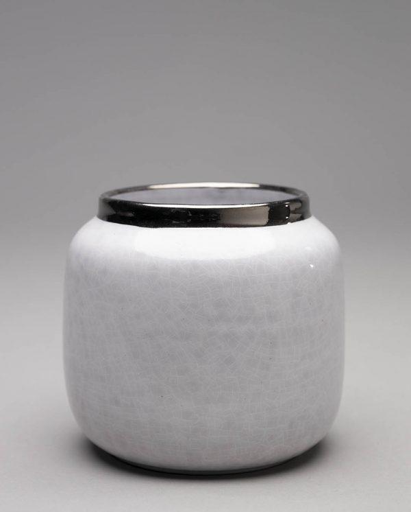Landbeck Keramik Vase Weiß Silber